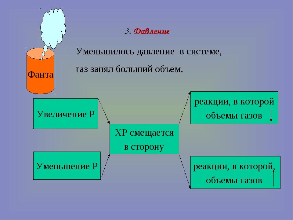 3. Давление Фанта Уменьшилось давление в системе, газ занял больший объем. Ув...