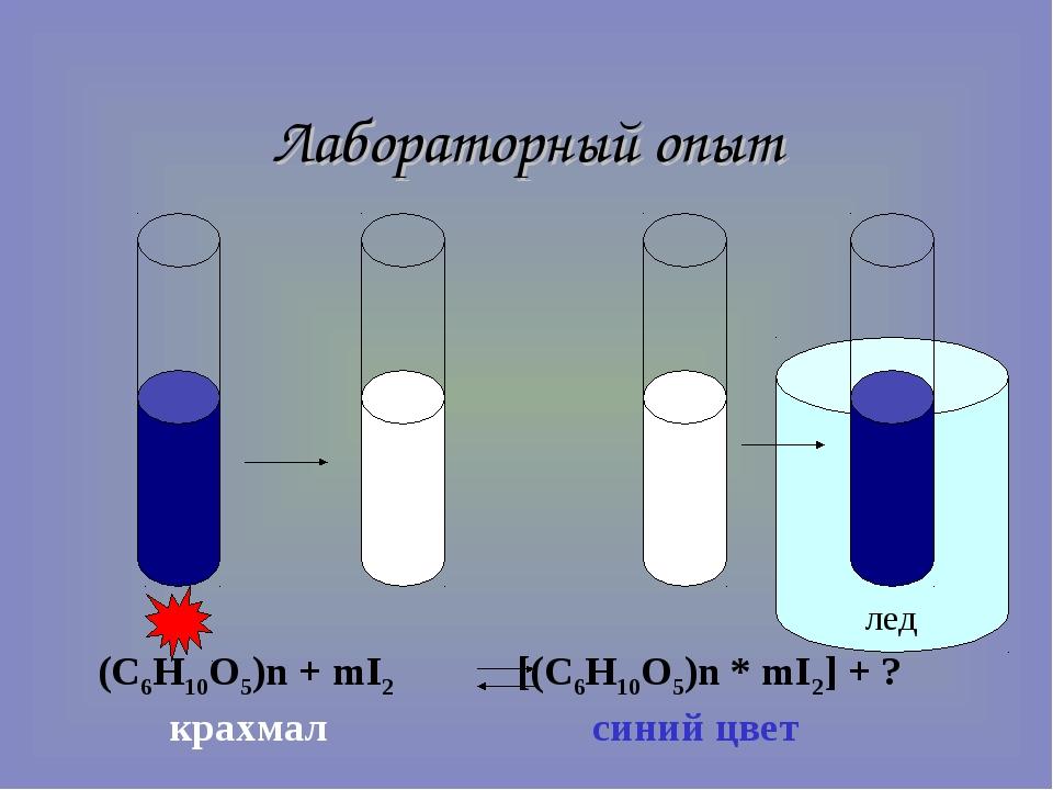 лед Лабораторный опыт (C6H10O5)n + mI2 [(C6H10O5)n * mI2] + ? крахмал синий...