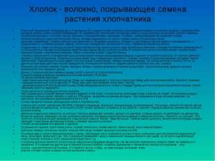 Хлопок - волокно, покрывающее семена растения хлопчатника В русской техническ