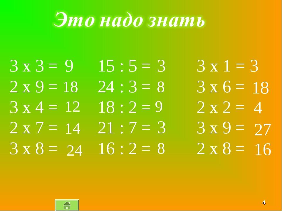 * 15 : 5 = 24 : 3 = 18 : 2 = 21 : 7 = 16 : 2 = 3 x 3 = 2 x 9 = 3 x 4 = 2 x 7...