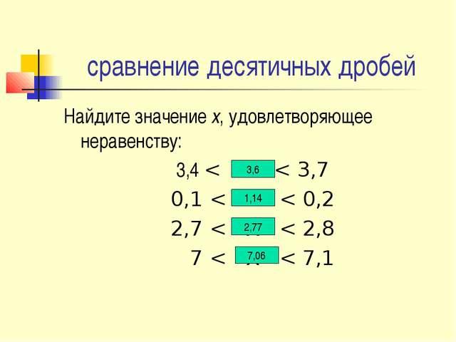 сравнение десятичных дробей Найдите значение х, удовлетворяющее неравенству:...
