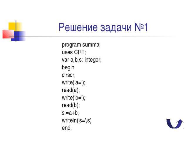 Решение задачи №1 program summa; uses CRT; var a,b,s: integer; begin clrscr;...
