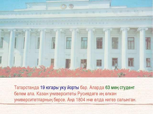 Татарстанда 19 югары уку йорты бар. Аларда 63 мең студент белем ала. Казан ун...