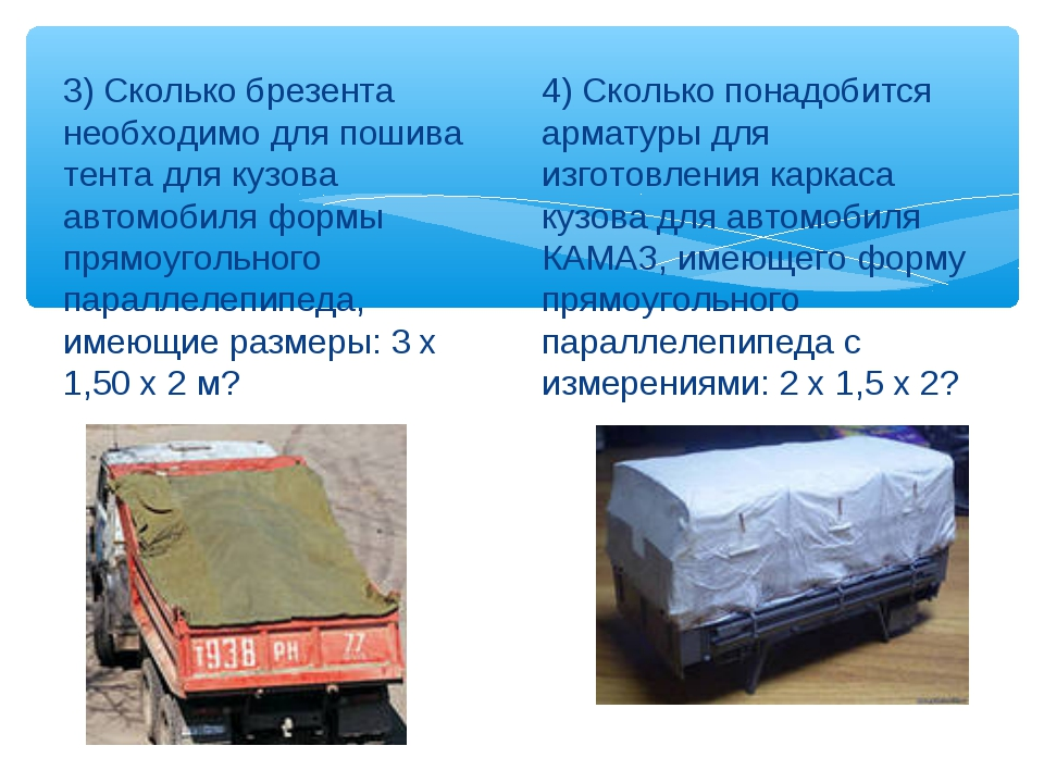 3) Сколько брезента необходимо для пошива тента для кузова автомобиля формы п...