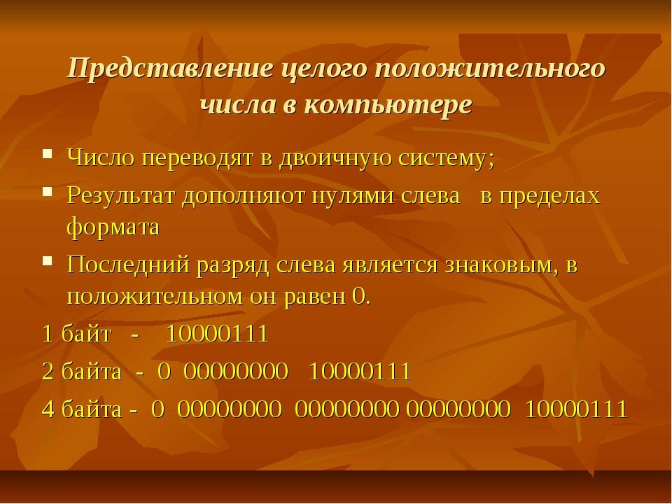 Представление целого положительного числа в компьютере Число переводят в двои...