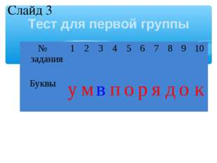 Тест для первой группы Слайд 3 № задания12345678910 Буквыумвпо