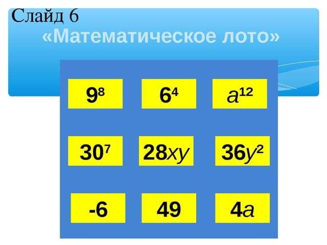 «Математическое лото» 98 64 а12 307 28ху 36у2 -6 49 4а Слайд 6 Л  О М О Н...