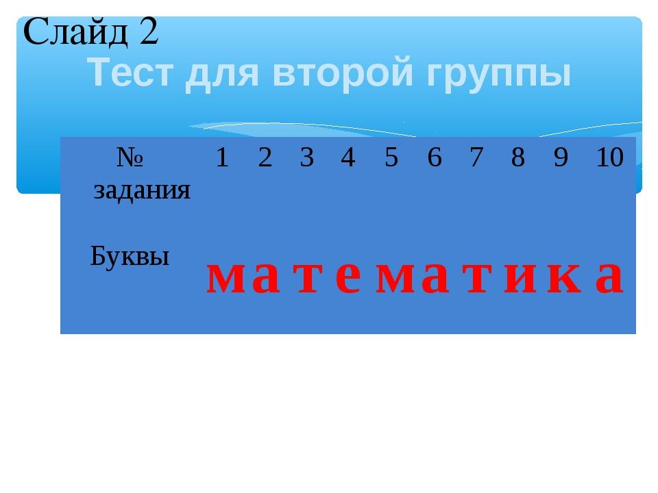Тест для второй группы Слайд 2 № задания12345678910 Буквыматем...