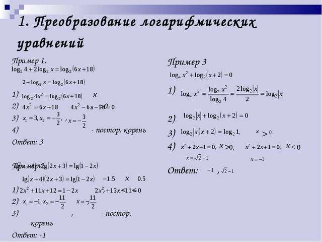 1. Преобразование логарифмических уравнений Пример 1. 1) 2) , >0 3) , 4) - по...