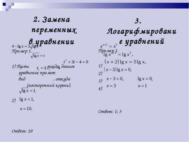 2. Замена переменных в уравнении Пример 1. 1) Пусть , тогда данное уравнение...
