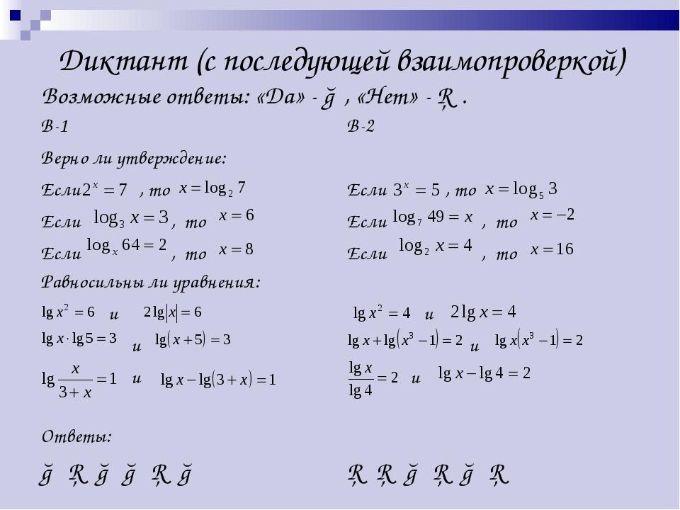 Диктант (с последующей взаимопроверкой) Возможные ответы: «Да» - ○, «Нет» - □...