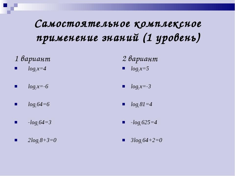 Самостоятельное комплексное применение знаний (1 уровень) 1 вариант log3 x=4...