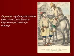 Сермяга - грубая домотканая шерсть из которой шили верхнюю крестьянскую одежду