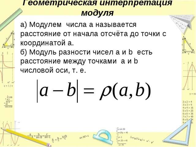 Геометрическая интерпретация модуля а) Модулем числа а называется расстояние...