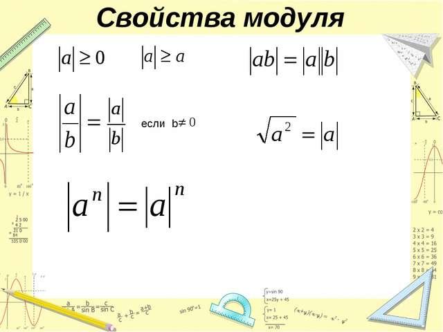 Свойства модуля если b