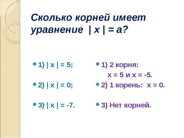 Сколько корней имеет уравнение | x | = a? 1) | x | = 5; 2) | x | = 0; 3) | x...