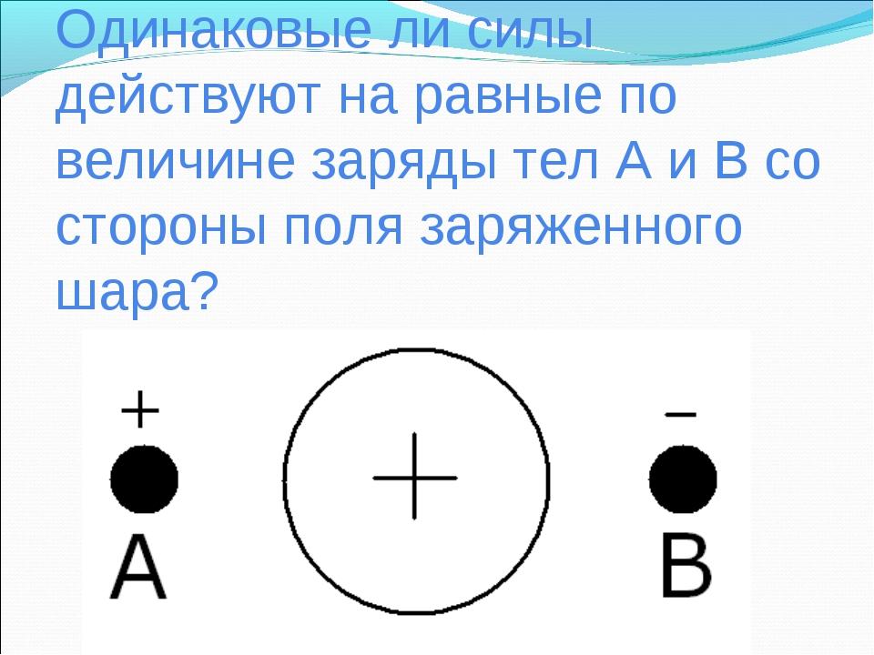 Одинаковые ли силы действуют на равные по величине заряды тел А и В со сторон...