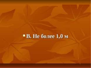 В. Не более 1,0 м