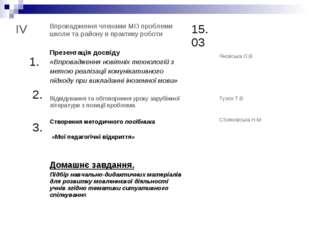IV 1. 2. 3.Впровадження членами МО проблеми школи та району в практику робот