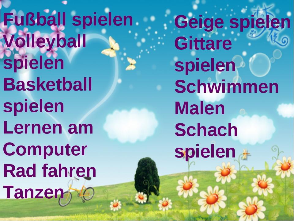 Fußball spielen Volleyball spielen Basketball spielen Lernen am Computer Rad...