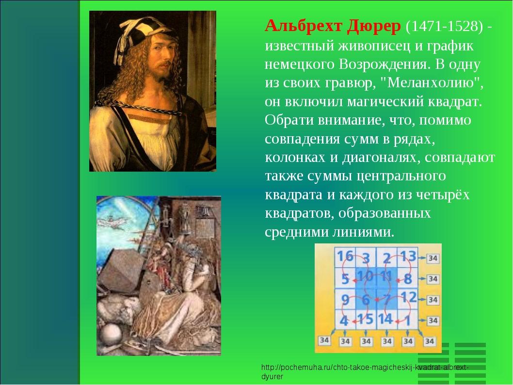 Альбрехт Дюрер (1471-1528) - известный живописец и график немецкого Возрожден...