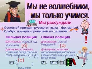 Мы рассуждали Основной принцип русского языка – фонемный. Слабую позицию пров