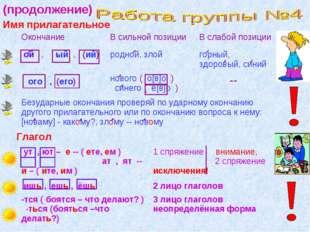 (продолжение) Имя прилагательное Глагол