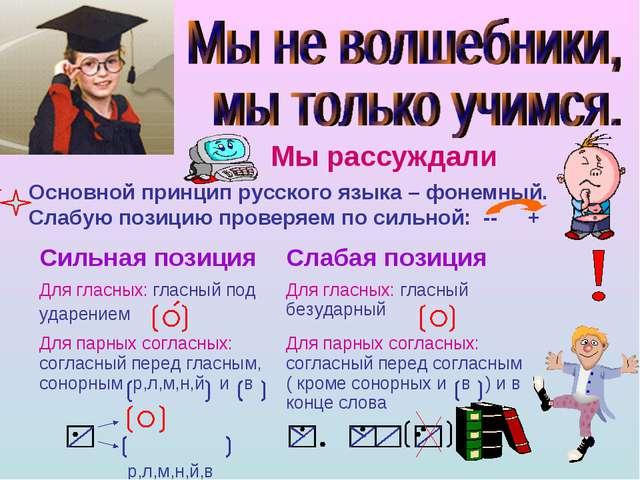 Мы рассуждали Основной принцип русского языка – фонемный. Слабую позицию пров...