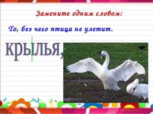 Замените одним словом: То, без чего птица не улетит.