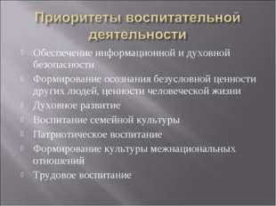 Обеспечение информационной и духовной безопасности Формирование осознания без