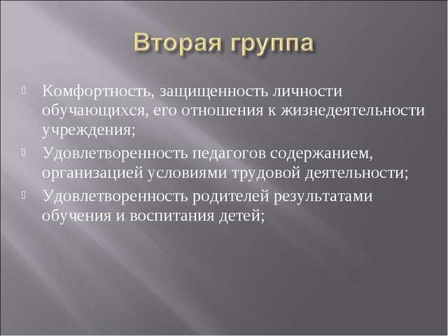Комфортность, защищенность личности обучающихся, его отношения к жизнедеятель...