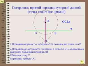 Построение прямой перпендикулярной данной (точка лежит вне прямой) А 1.Провод