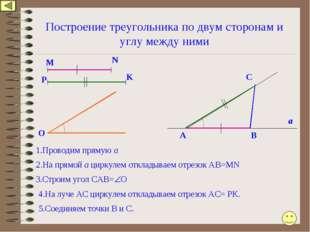 Построение треугольника по двум сторонам и углу между ними 1.Проводим прямую