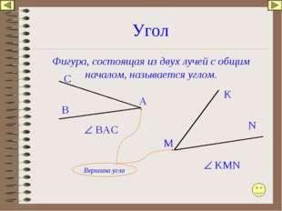 Угол Фигура, состоящая из двух лучей с общим началом, называется углом. А С В