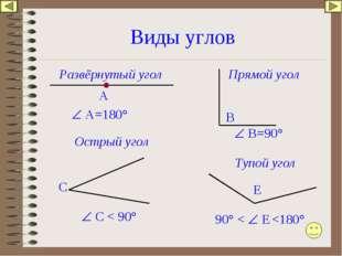 Виды углов Развёрнутый угол А  А=180° В  В=90° Прямой угол Острый угол С 