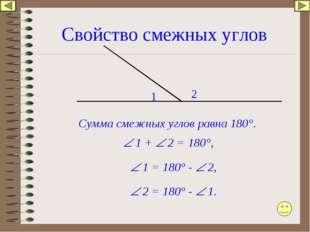 Свойство смежных углов 1 2 Сумма смежных углов равна 180°.  1 +  2 = 180°,