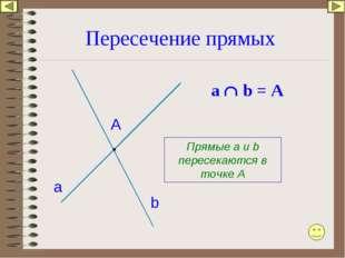 Пересечение прямых а b А Прямые а и b пересекаются в точке А а  b = A