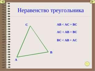 Неравенство треугольника A C B AB < AC + BC AC < AB + BC BC < AB + AC
