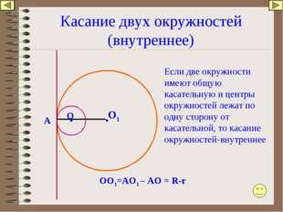Касание двух окружностей (внутреннее) O Если две окружности имеют общую касат