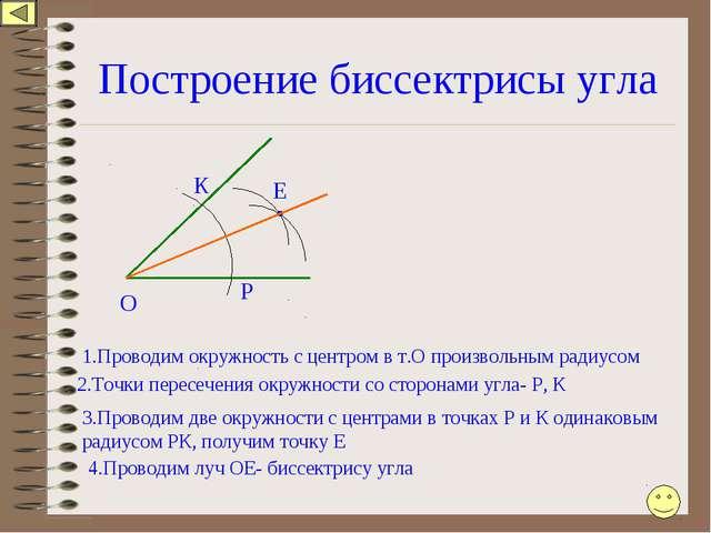 Построение биссектрисы угла О 1.Проводим окружность с центром в т.О произволь...