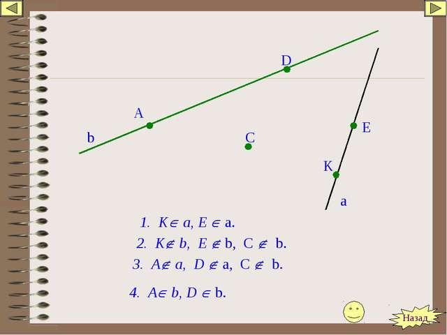 b a A D C E K 2. K b, E  b, C  b. 1. K а, E  a. 3. A a, D  a, C  b. 4...