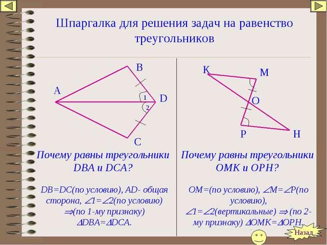 Шпаргалка для решения задач на равенство треугольников Почему равны треугольн...