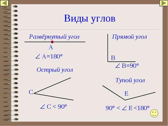 Виды углов Развёрнутый угол А  А=180° В  В=90° Прямой угол Острый угол С ...