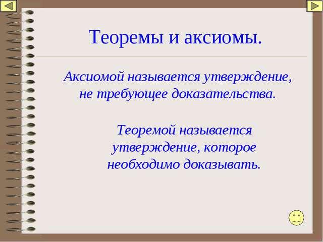 Теоремы и аксиомы. Аксиомой называется утверждение, не требующее доказательст...