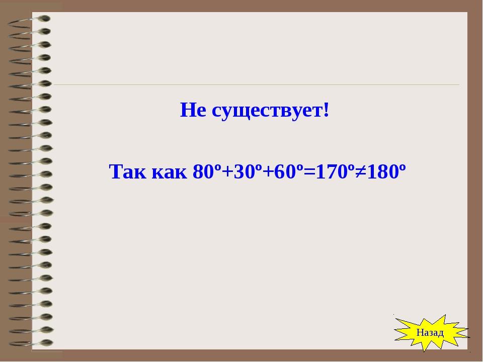 Не существует! Так как 80º+30º+60º=170º≠180º Назад