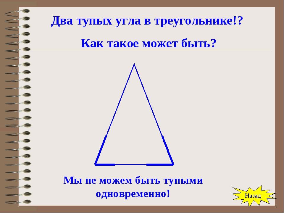 Два тупых угла в треугольнике!? Как такое может быть? Мы не можем быть тупыми...