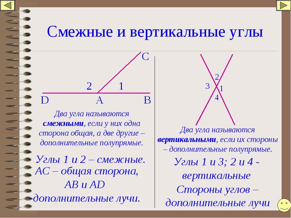 Смежные и вертикальные углы 1 2 А В С D Углы 1 и 2 – смежные. АС – общая стор...