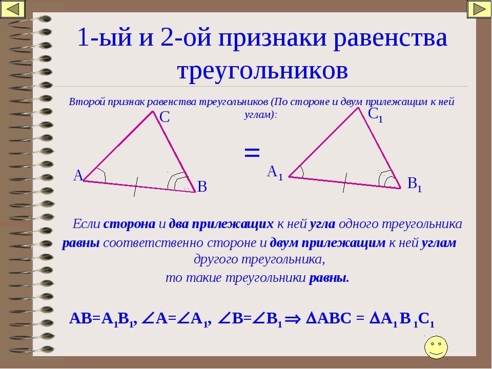 1-ый и 2-ой признаки равенства треугольников Второй признак равенства треугол...