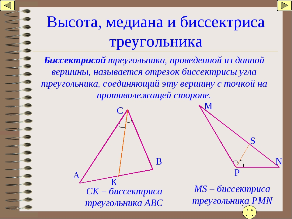 Высота, медиана и биссектриса треугольника Биссектрисой треугольника, проведе...