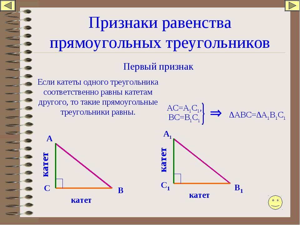 Признаки равенства прямоугольных треугольников Первый признак Если катеты одн...